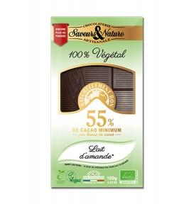 Tablette chocolat noir au lait d'amande sans lactose Vegan bio